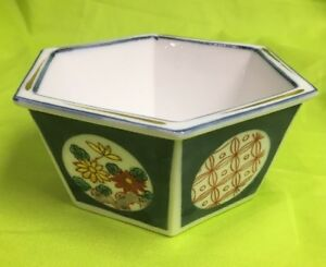 Antique Chinese Or Japanese Blue And White Enameled Porcelain Six Sided Bowl