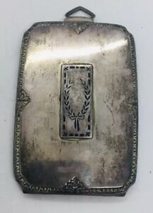 Antique Art Deco Sterling Silver Black Enamel Coin Holder Compact