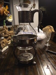 Vintage Glass Silver Tea Coffee Server With Warmer 13 Inches