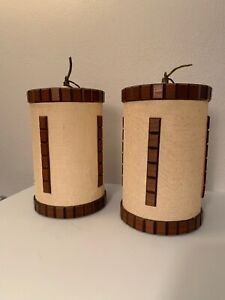 2 Vintage Danish Mid Century Modern Tension Pole Lamp Hanging Shades Teak Walnut