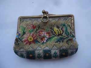 Antique Glass Beads Hand Embroidered Very Old Victorian Original Purse 1900