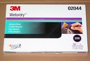 New In Box 3m 02044 Wetordry 2000 Grit 5 1 2 X 9 Sanding Sheets 50