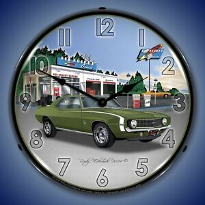 New 1969 Green Chevrolet Camaro Rocket Gas Led Lighted Muscle Car Clock