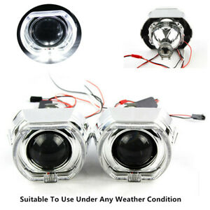 2 5 Led Reflector Material Angel Eye Hid Bi Xenon Projector Lens Headlight Kit