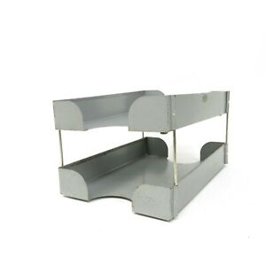 Vintage Gray Metal Steel Lit ning Industrial In Out Box Desk Tray Mailbox