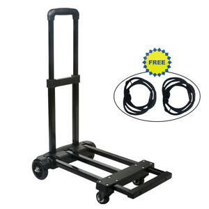 Foldable Hand Truck W telescoping Handle Hand Trolley W 2 Ropes 200lbs Cart
