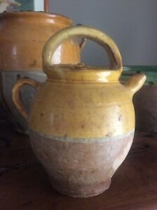 1900 S Antique French Pottery Beautiful Yellow Cruche Water Jug French Decor