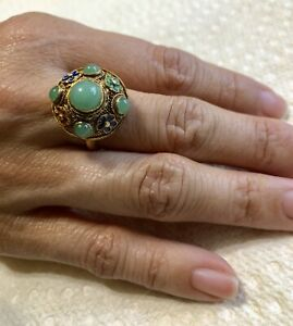 Antique Chinese Export Silver Ring Enamel Chrysoprase