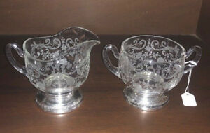 Cambridge Sterling Silver Chantilly Depression Glass Creamer Sugar Bowl 9282