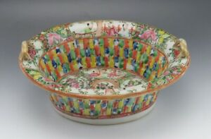 Antique 19th Century Chinese Porcelain Famille Rose Mandarin Basket Bowl