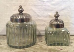 Antique Glass Vanity Jars Art Deco Style With Silver Metal Lids Set Of Two