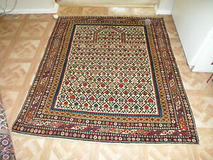Antique Gharabagh Persian Prayer Rug Over 100 Years Old 4 X 4 7 Sku P11727