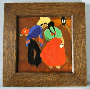 8 San Jose Pottery Tile Courting Couple With Frame Mexican Arts