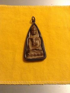 Mindfulness Meditation Buddha Amulet Pendant Thai Prayer Metal Case