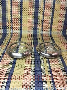 2 Anston Sterling Glass Coasters Slightly Polished 1930 S 40 S 3 3 4 X1