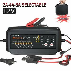 12v 2 4 8a Battery Charger Multi Amp Maintainer Portable Auto Trickle Float Deep