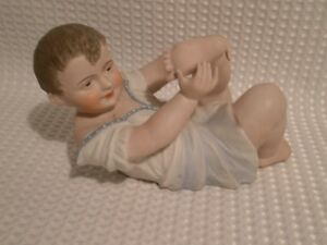 Antique Bisque Gebruder Heubach Figurine Piano Baby Playing With Toes
