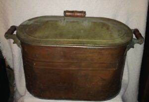 Vintage Large Copper Boiler Wash Tub Basin With Lid And Wood Handles