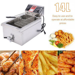 14l 2500w Electric Deep Fryer Commercial Restaurant Fast Food W Timer Drain Us