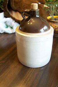 Vintage Pottery Jug Decanter Ceramic Brown And Cream