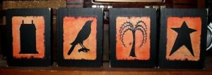 Primitive Rustic Shelf Sitter House Willow Tree Crow Star 4 Pc Sign Block Set
