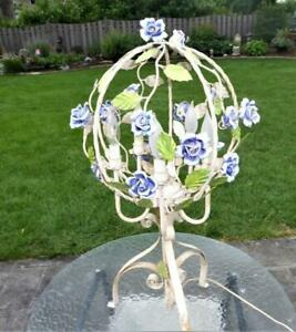 Rare Vtg Italian Tole Blue Porcelain Roses Chandelier Lamp Table Top Floor Lamp