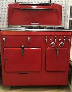 1949 50 Chamber C Model Gas Stove Victory Red Double Oven Griddle Soup Well