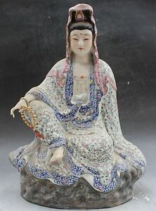 16 China Dehua Colored Porcelain Seat Kwan Yin Guan Yin Kuanyin Goddess Statue