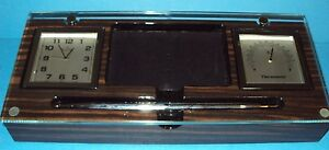 Bulova Desk Clock Thermometer Business Card Holder Pen Tempered Glass B2572
