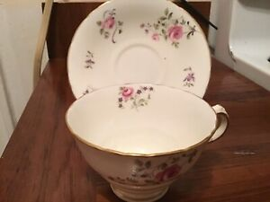 Sutherland Staffordshire Roses Bone China Tea Cup And Saucer Scalloped Edge