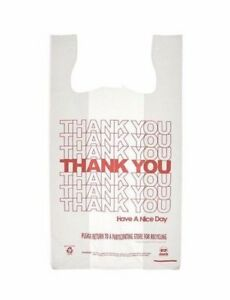 Thank You Plastic Shopping Bag Grocery Retail Handle Bags Case Of 1000 New