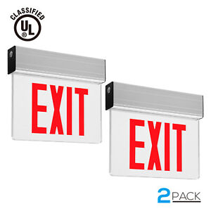 Red Led Exit Sign Ceiling side back Mount Ul Emergency Light Battery Included