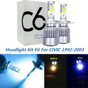 Led Headlight Kit H4 9003 8000k Ice Blue Hi low Bulbs For Honda Civic 1992 2003