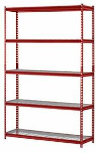 Steel Shelving Unit Storage Rack Red Standing Home Office Warehouse 5 tier 72 h