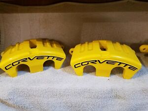 Yellow Powder Coated 05 13 Corvette C6 F R Base Calipers Brackets