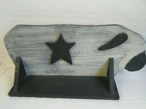 Primitive Country Folk Art Wood Sheep Shaped Shelf