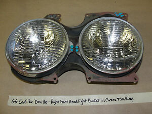 66 Cadillac Deville Right Front Passenger Headlight Bucket W Chrome Trim Rings