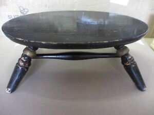 Small Early Century Black Laquer And Gilt Painted Turned Wood Footstool