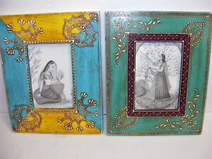 Pair Heavy Wooden Picture Frames Turquoise Yellow Burgundy Handpainted Antique