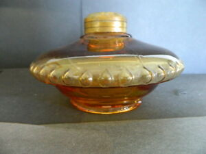 Amber Glass Victorian Oil Lamp Font 3 Part Mold For Bracket Or Table