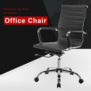 Modern Ergonomic Pu Leather Executive High Back Computer Office Chair Black