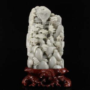 Chinese Natural Hetian Jade Statue Old Man Kid