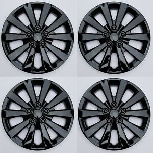 New Wheel Covers Hubcaps Fits 2013 2019 Nissan Sentra S sv 16 Black Set Of 4