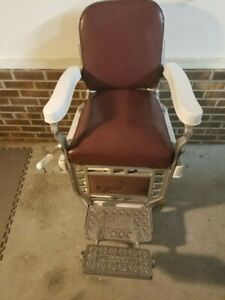 Theo A Kochs Antique Barber Chair White Porcelain