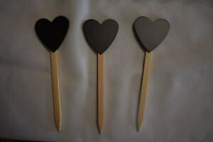 New Set Of 3 Prim Country Farmhouse Chalkboard Heart On Wooden Stick Valentine