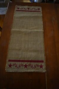 New Primitive Country Burlap Table Runner Home Decor