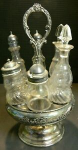 Antique 5 Bottle Silverplate Rotating Etched Condiment Caddy Vg Excellent
