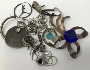 Vintage Lot Of Sterling Silver Jewelry 100 Total Grams Scrap Not Wearable