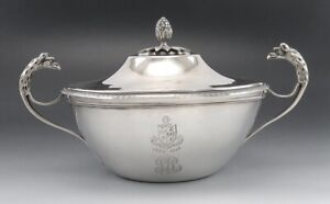 Antique French 950 Sterling Silver Covered Sugar Sauce Bowl Bull Family Crest