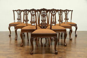 Set Of 8 Georgian Style Carved Mahogany Vintage Dining Chairs 30929